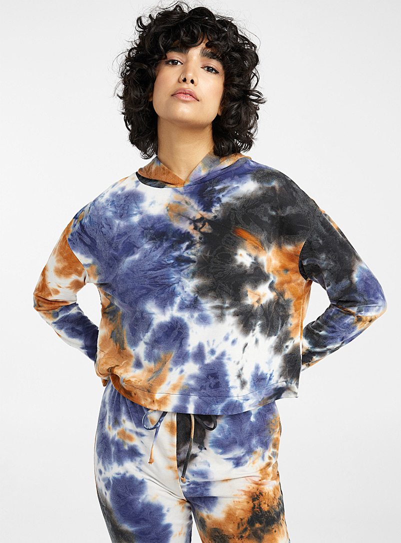 Miiyu x Twik Patterned Blue Tie-dye hooded cropped sweatshirt for women