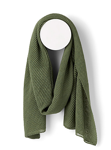Simons Bottle Green Pleated sheer scarf for women