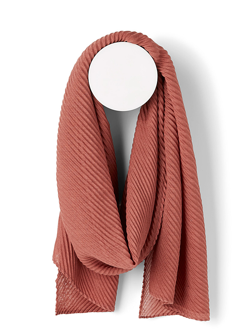 Simons Dusky Pink Pleated sheer scarf for women
