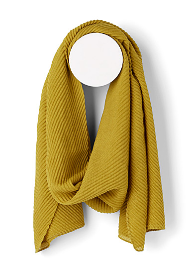 Simons Medium Yellow Pleated sheer scarf for women