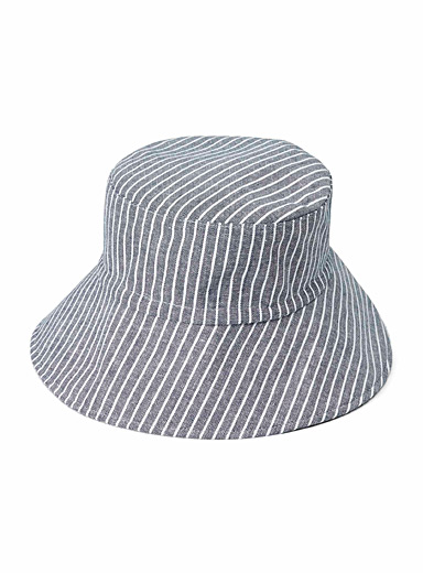 Simons Patterned Blue Striped bucket hat for women