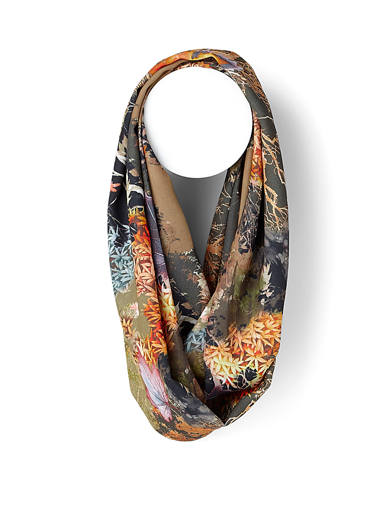Autumn scene infinity scarf - Snoods - Patterned Green