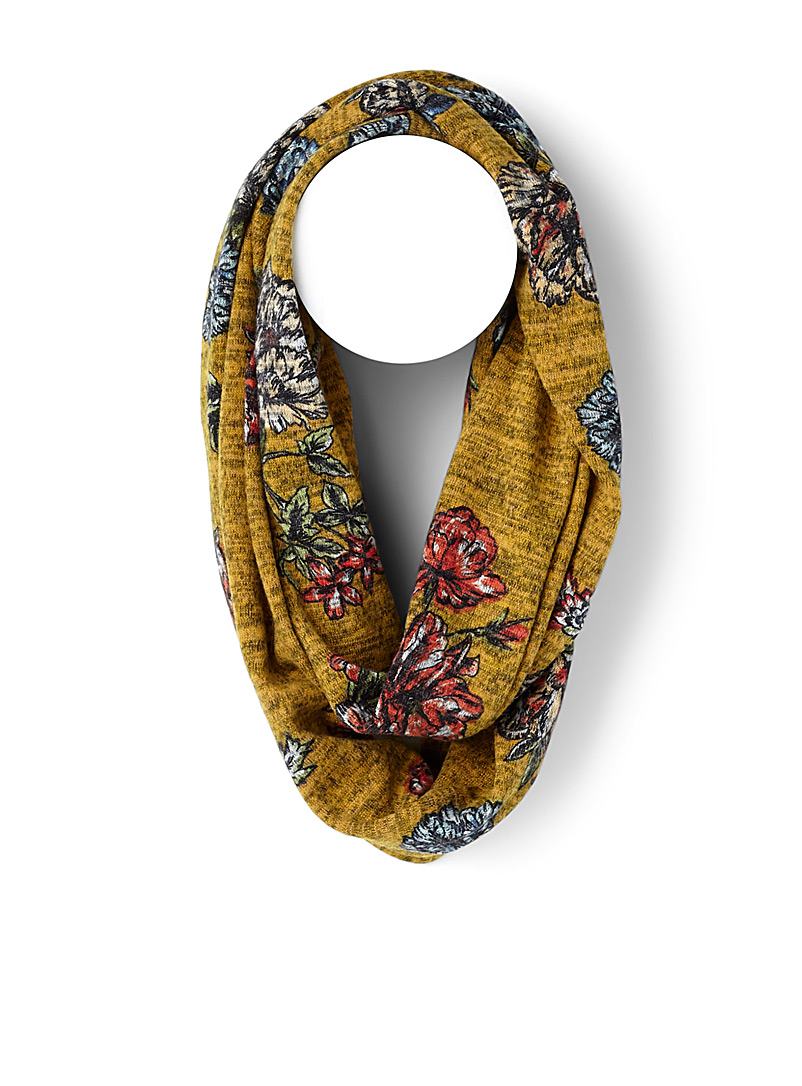 Traced flowers infinity scarf - Snoods - Patterned Yellow
