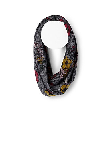 Flowers and checks infinity scarf