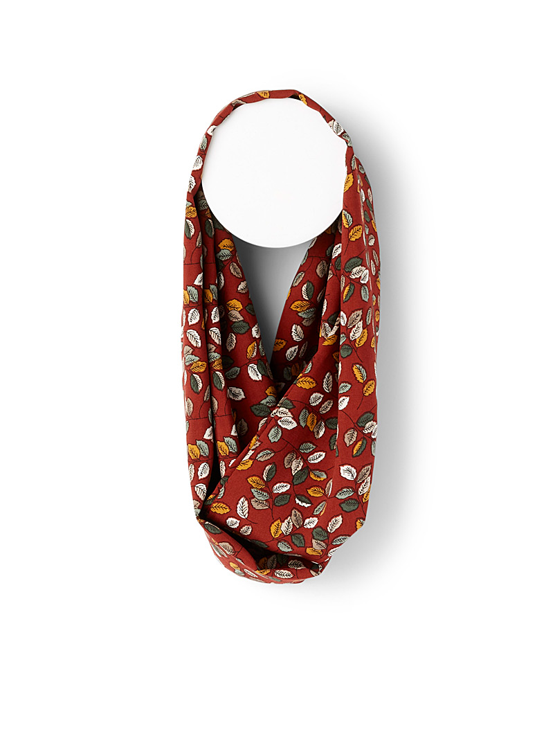 Sanibel Patterned Red Fall foliage infinity scarf for women