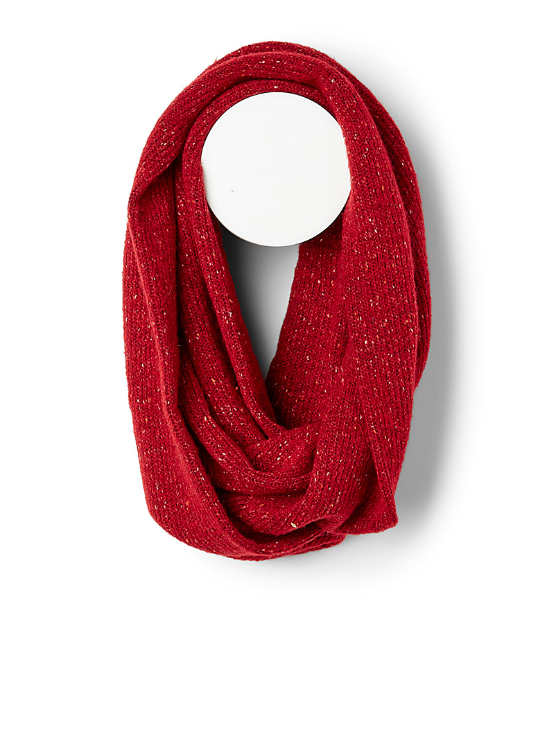 Sanibel Red Flecked knit infinity scarf for women