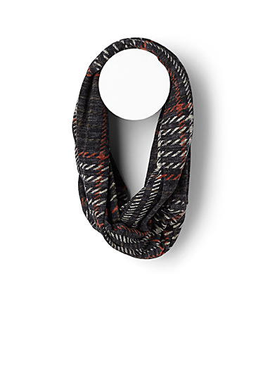 Heathered houndstooth infinity scarf