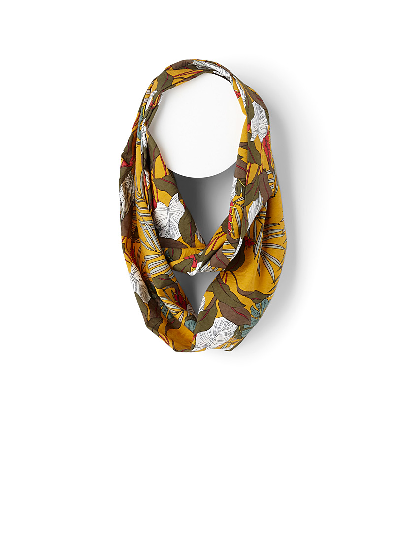 Tropical jungle infinity scarf - Light scarves - Patterned Yellow