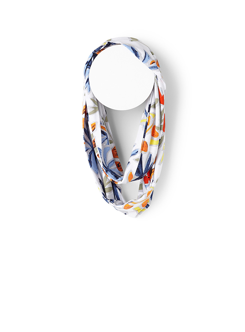 Floral collage infinity scarf - Light scarves - Patterned White