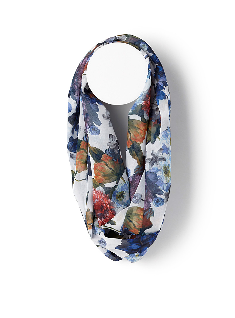 Blue flower infinity scarf - Snoods - Patterned Blue
