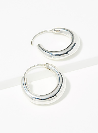 Simons Silver Silver domed hoops for women
