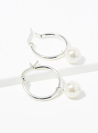 Simons Silver Silver pearly bead hoops for women