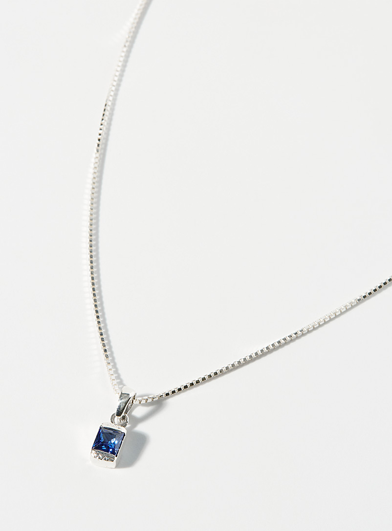 Simons Silver Sapphire blue necklace for women