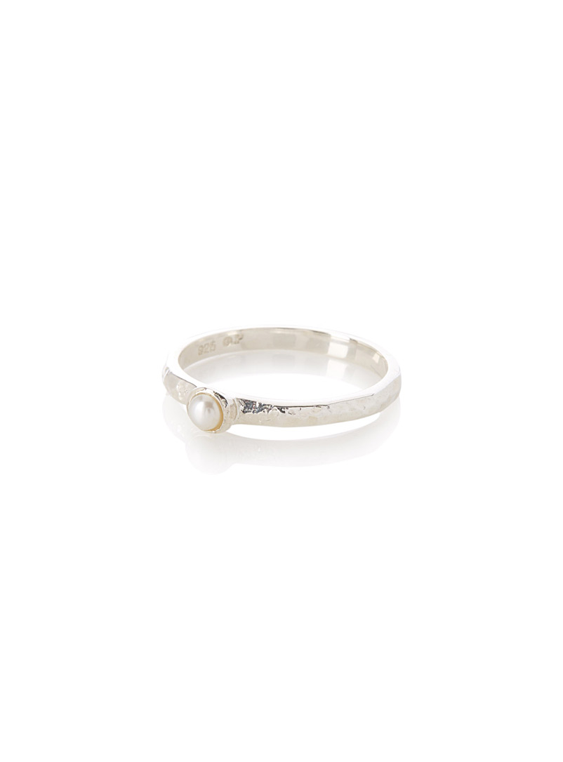 Simons Silver Pearly silver ring for women