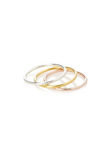 Metallic rings  Set of 3