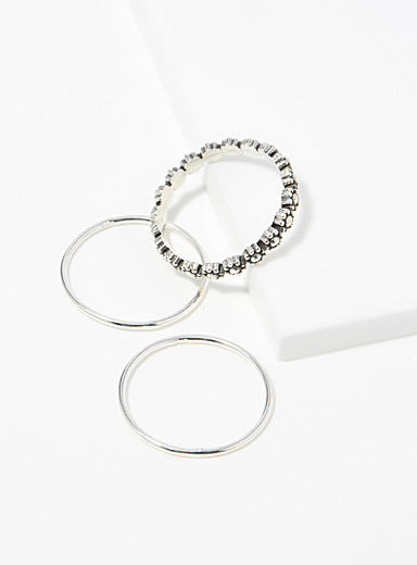 Minimalist floral rings  Set of 3