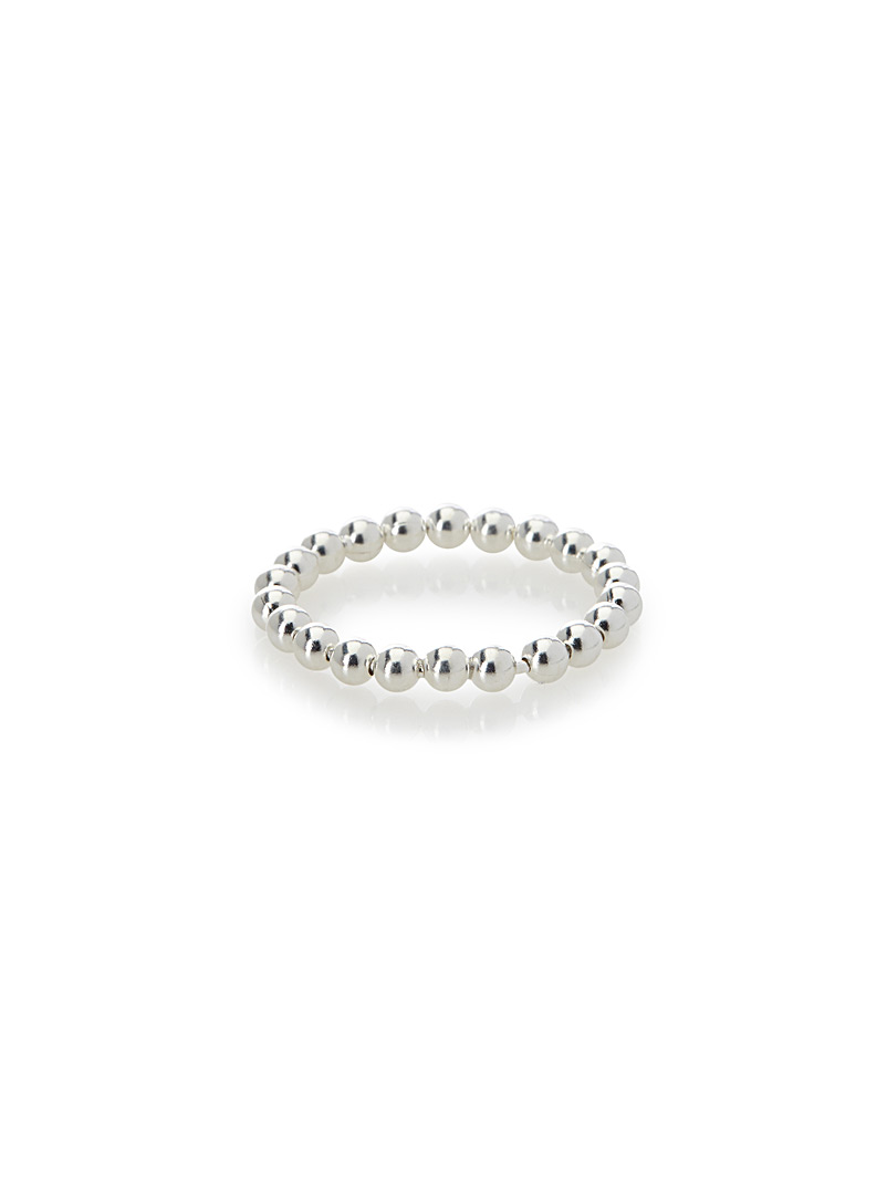 Genuine silver bead ring