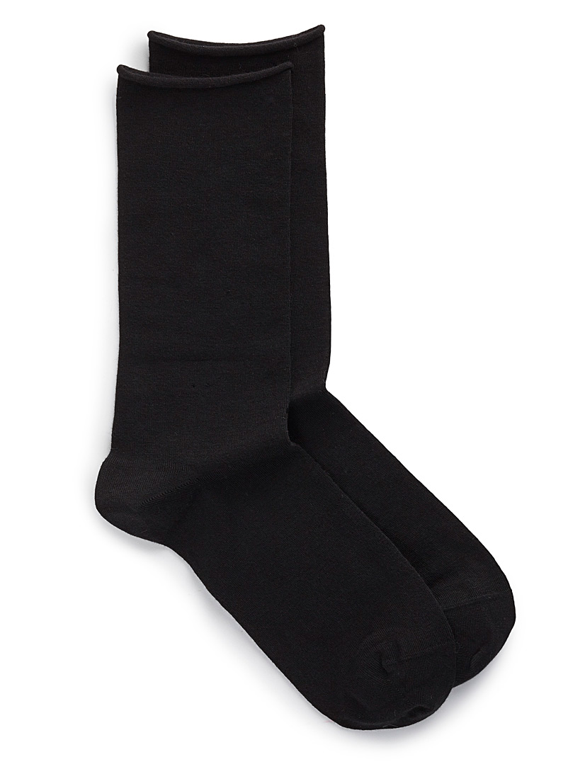 Velvety cotton socks - Socks - Black