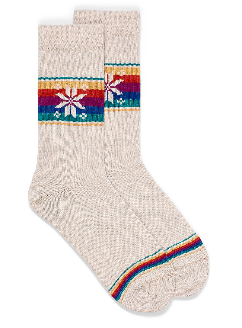 Bleuforêt Sand Cashmere and wool snowflake socks for women