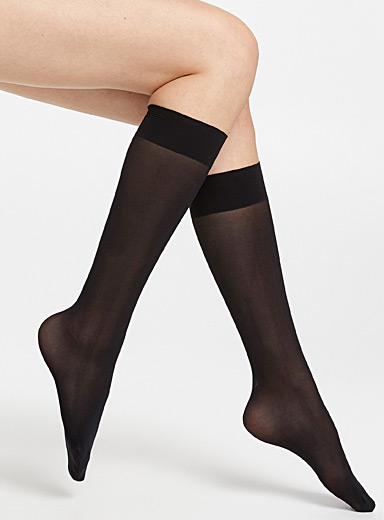 Bleuforêt Black Velvety knee-highs for women