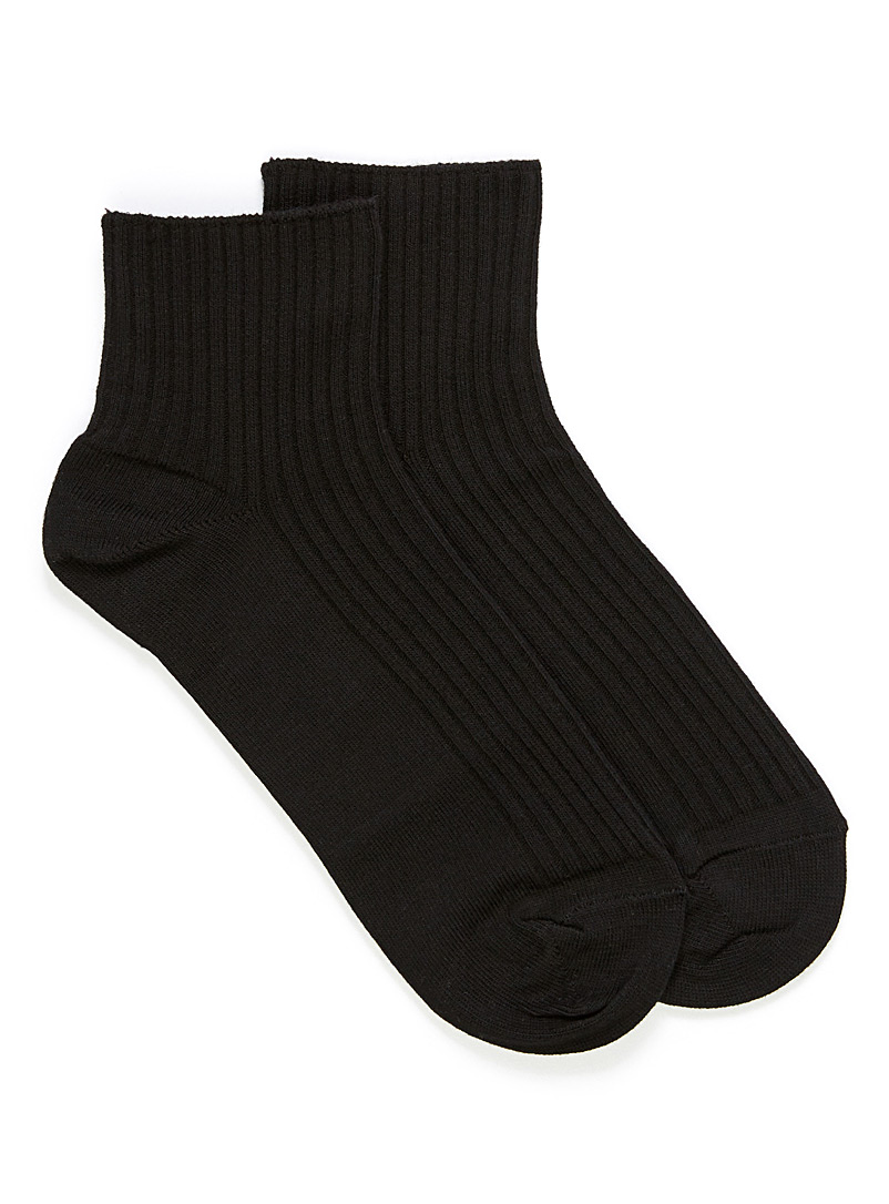 Ribbed cotton ankle socks