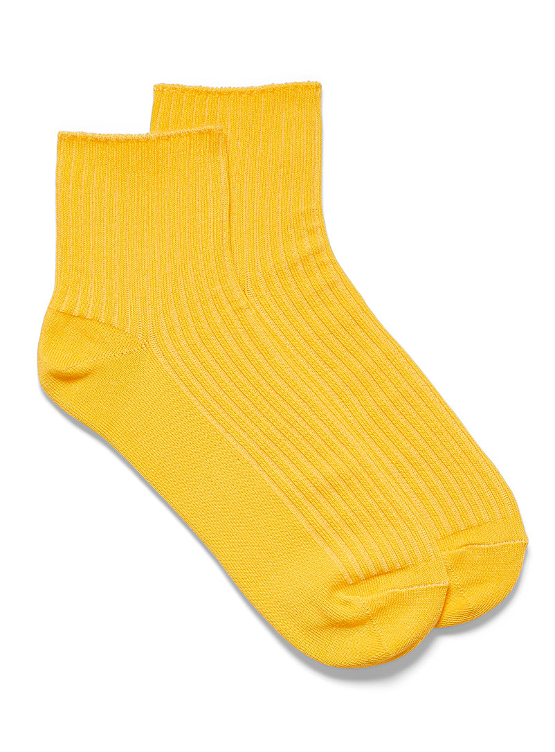Bleuforêt Medium Yellow Ribbed cotton ankle socks for women
