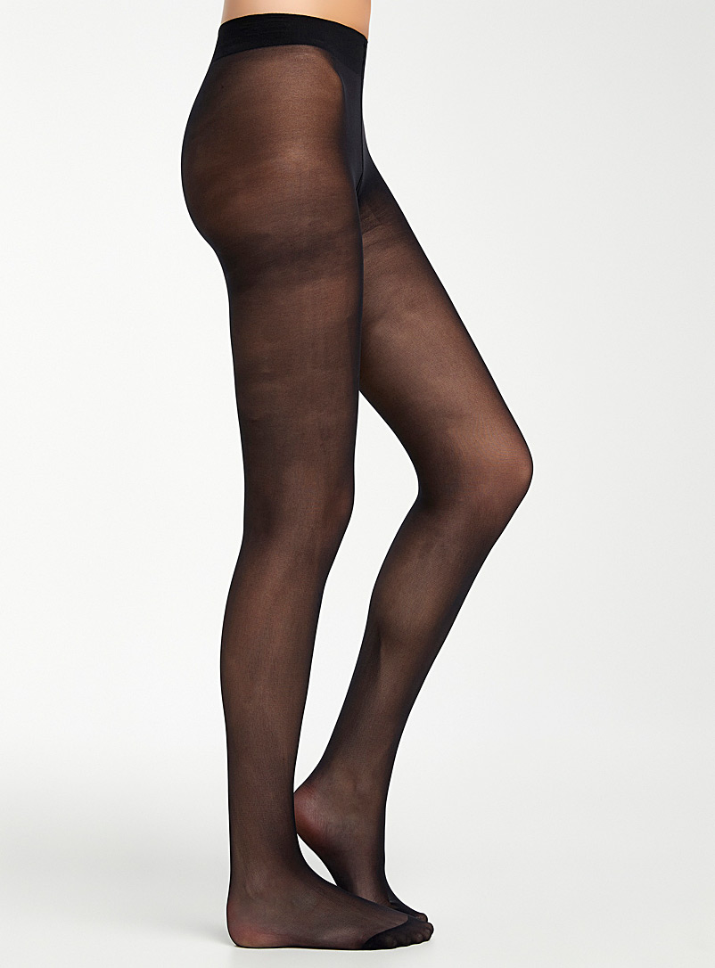Bleuforêt Black Velvety semi-sheer pantyhose for women