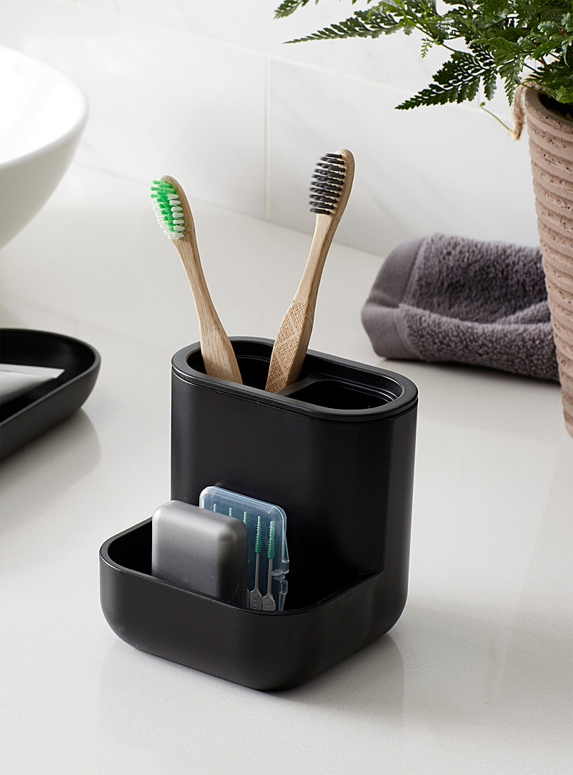 Modern black toothbrush holder