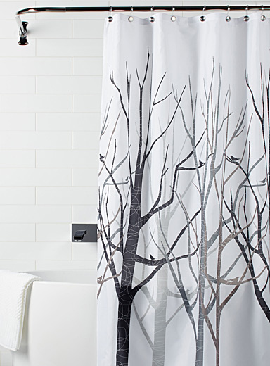 Modern forest shower curtain