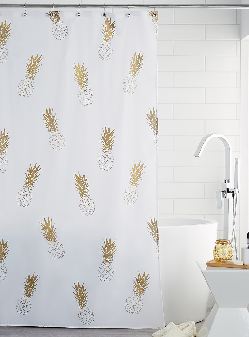 Golden pineapple shower curtain - Fabric - Assorted