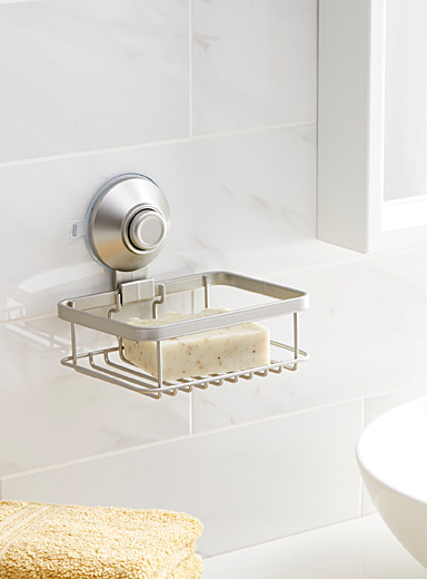 Suction cup push button soap dish
