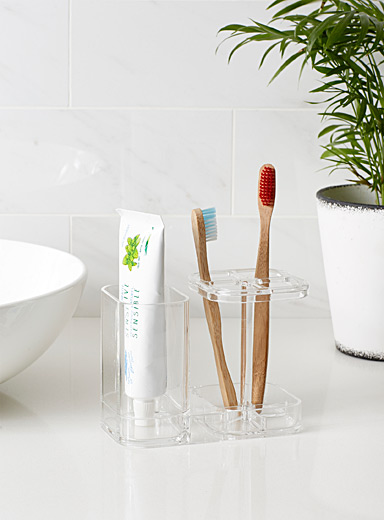 Transparent toothbrush holder