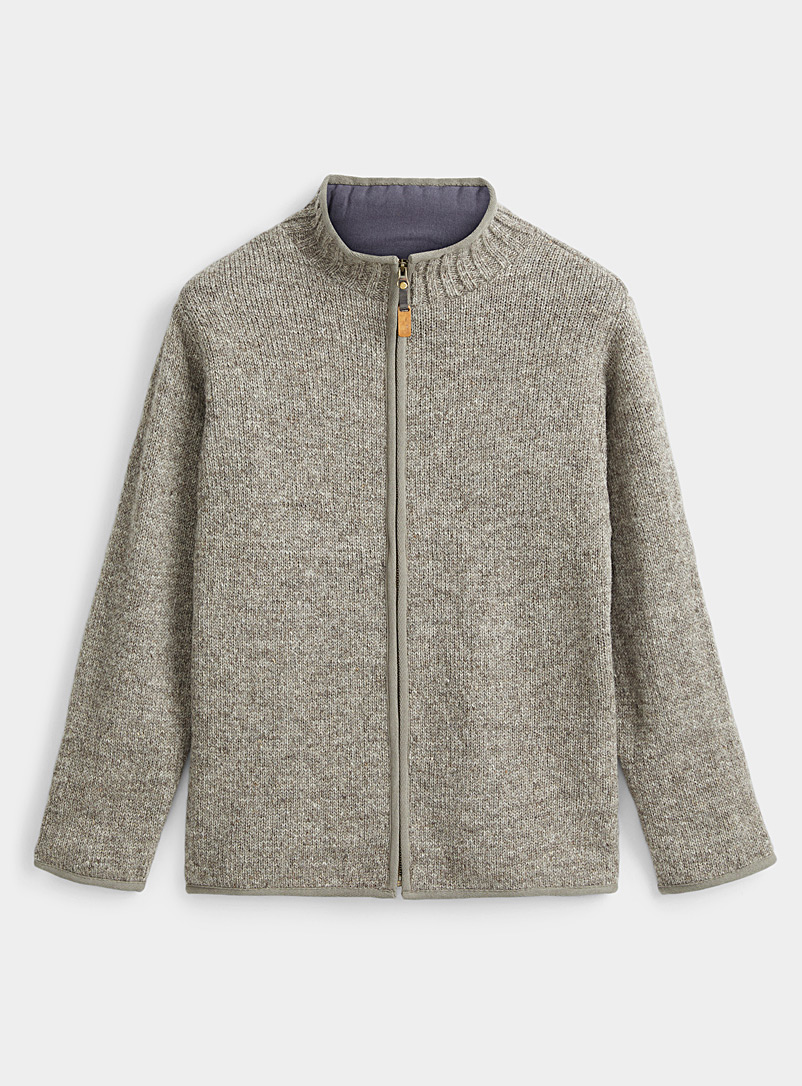 Laundromat Beige Heather wool cardigan for men
