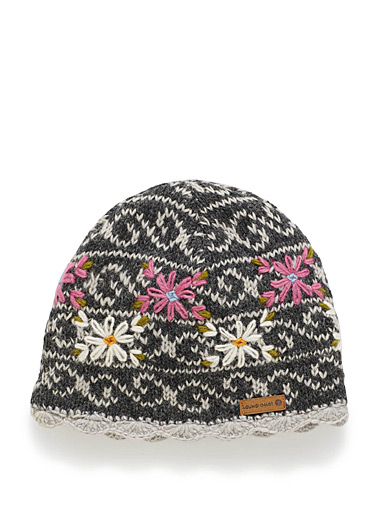 Lined floral knit tuque