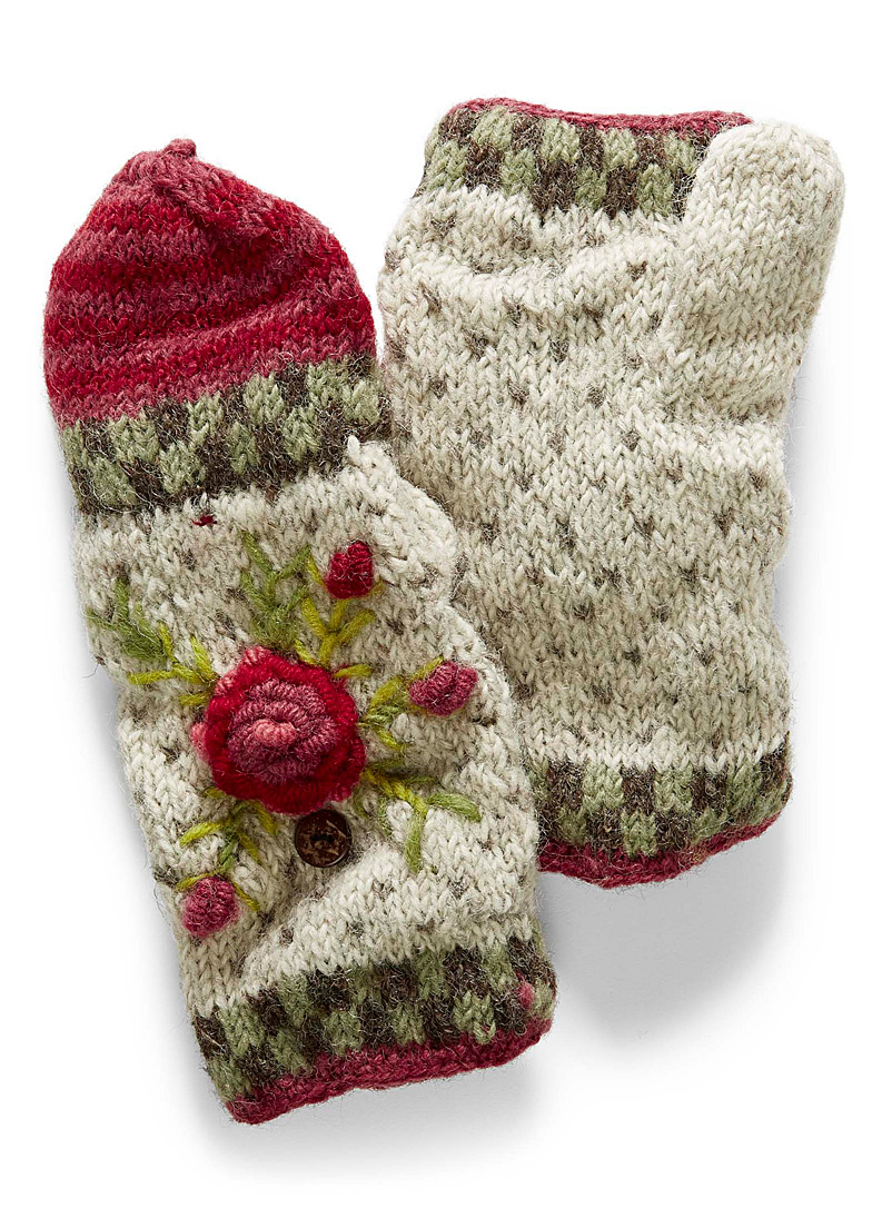 Lost Horizons Patterned White Aubrey mittens for women
