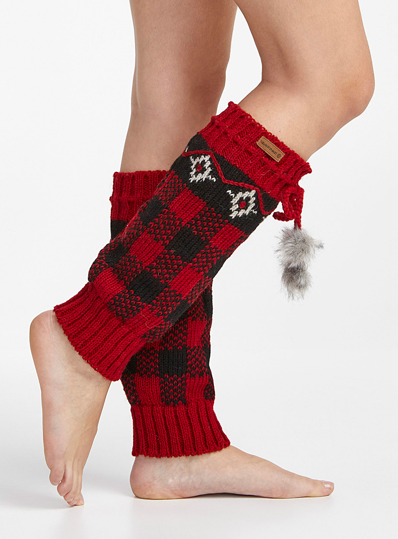 Laundromat Red Rylee knit legwarmers for women