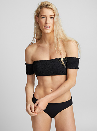 Off-the-shoulder honeycomb bandeau top