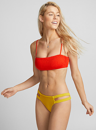 Fiery red honeycomb bandeau top