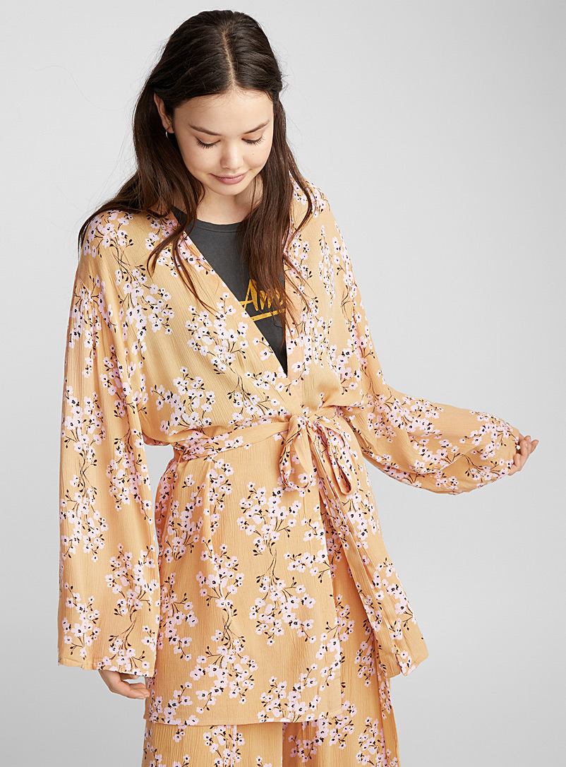 Wildflower belted kimono - Bathrobes - Patterned Yellow