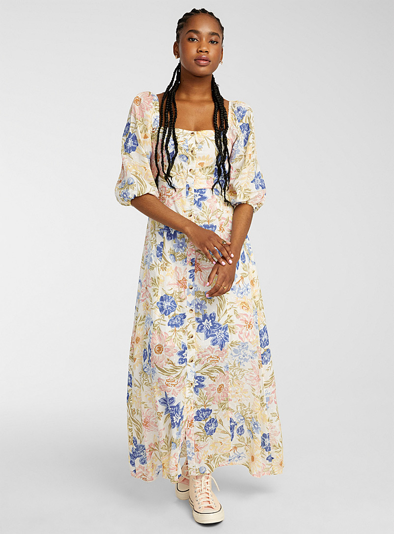 Billabong Patterned Blue Blooming flower maxi dress for women
