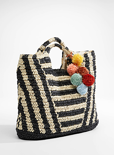 Billabong Patterned Black Talk To The Palm straw tote for women
