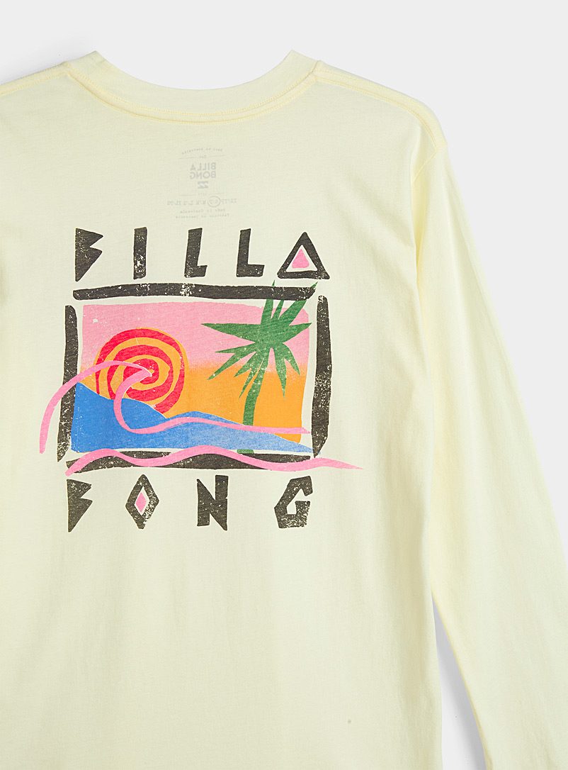Billabong Light Yellow Tropical landscape T-shirt for women