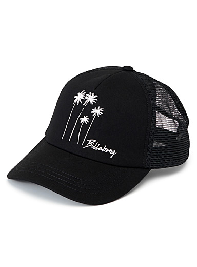 Traced palm tree trucker cap