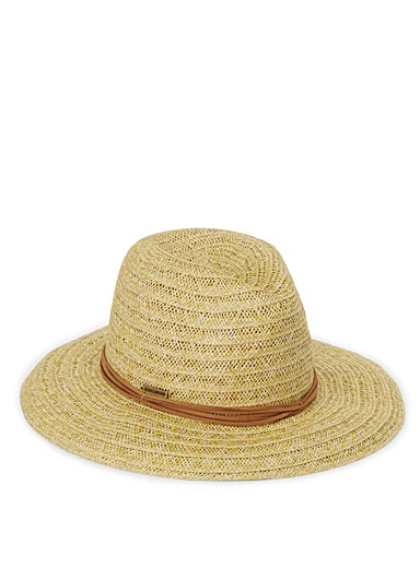 Straw suede-lace Panama hat