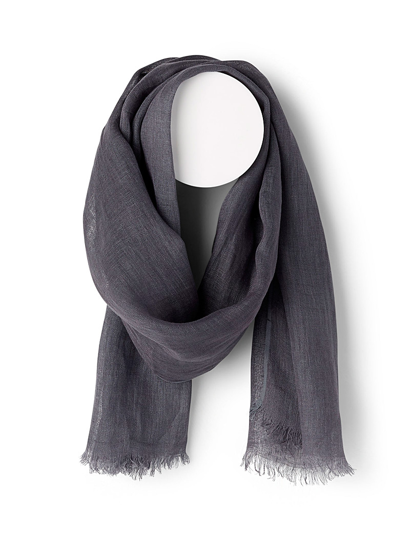 Simons Grey Solid linen scarf for women