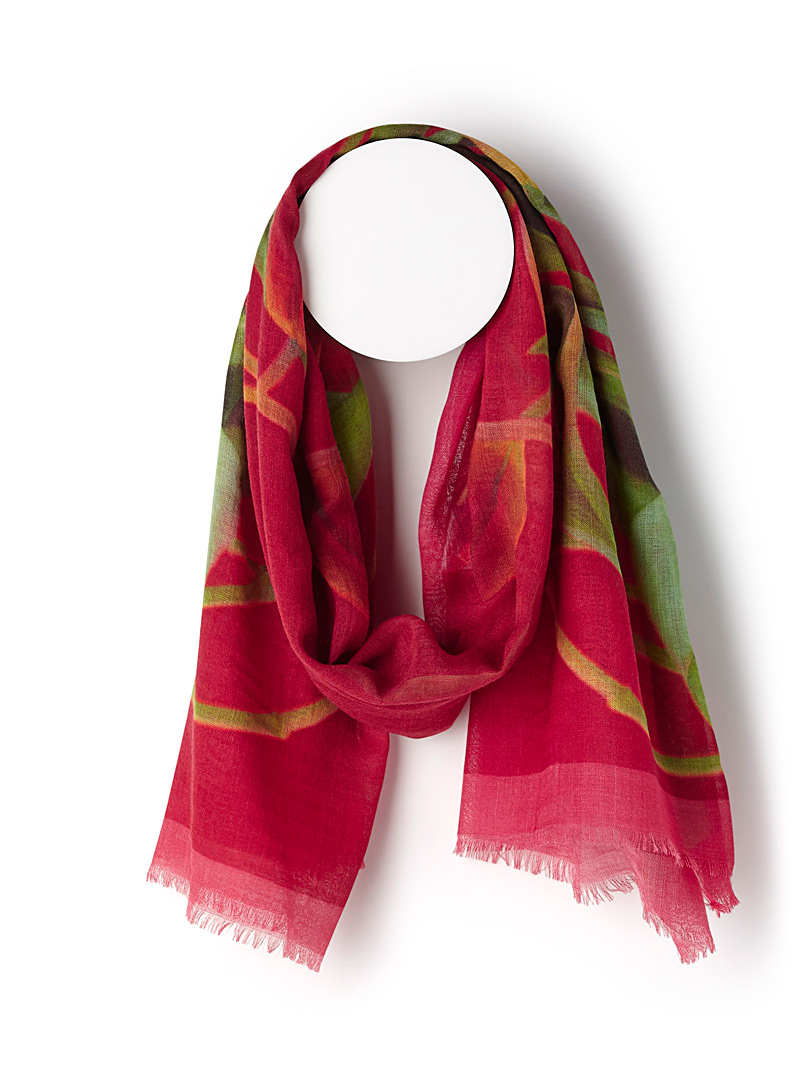 Blooming tulips scarf - Light scarves - Patterned Red