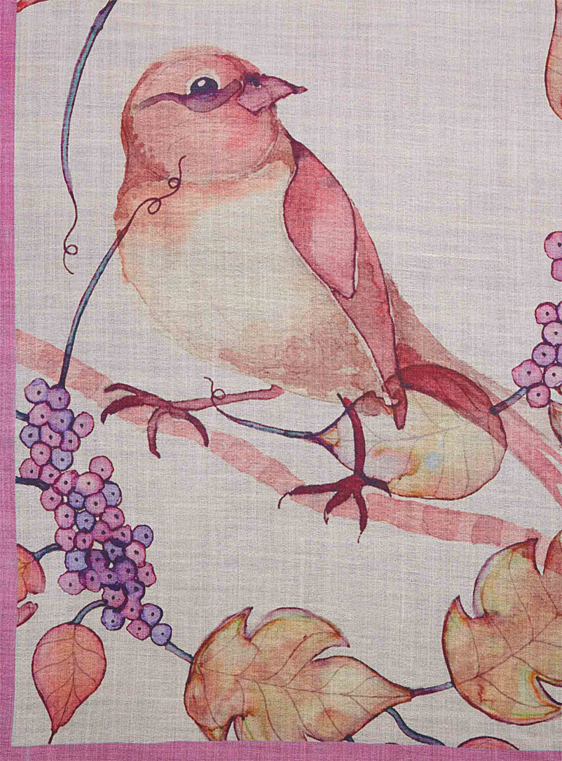 Autumn bird scarf - Light scarves - Patterned Red