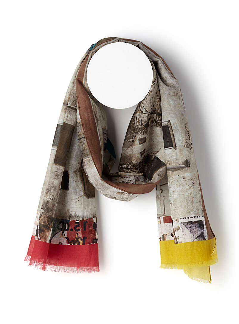 Rustic facade scarf - Light scarves - Patterned Brown