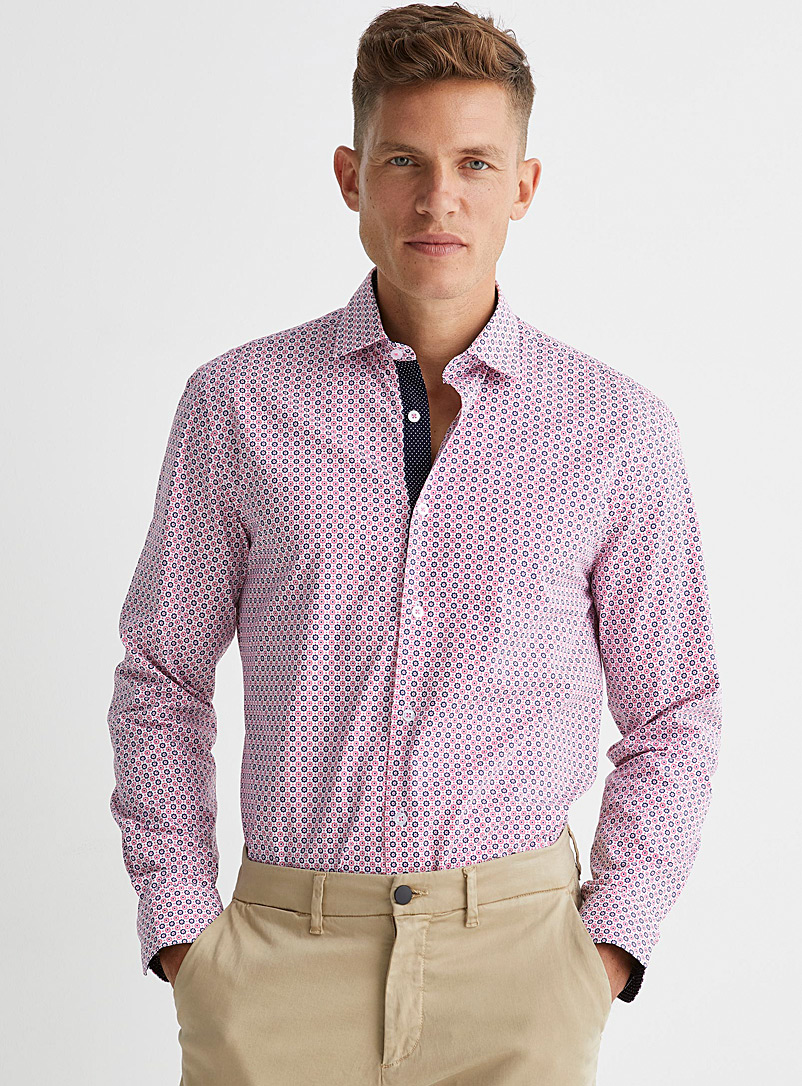 Soul of London Pink Two-tone floral shirt Modern fit for men