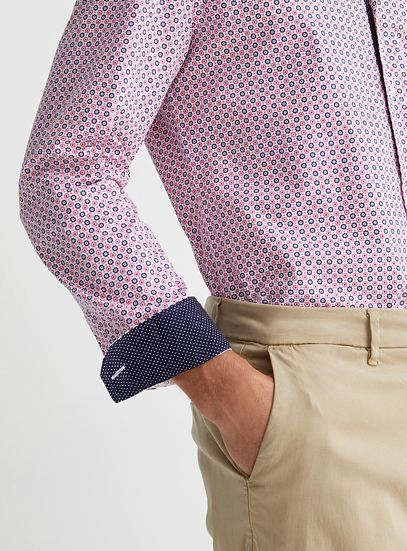 Soul of London Marine Blue Two-tone floral shirt Modern fit for men